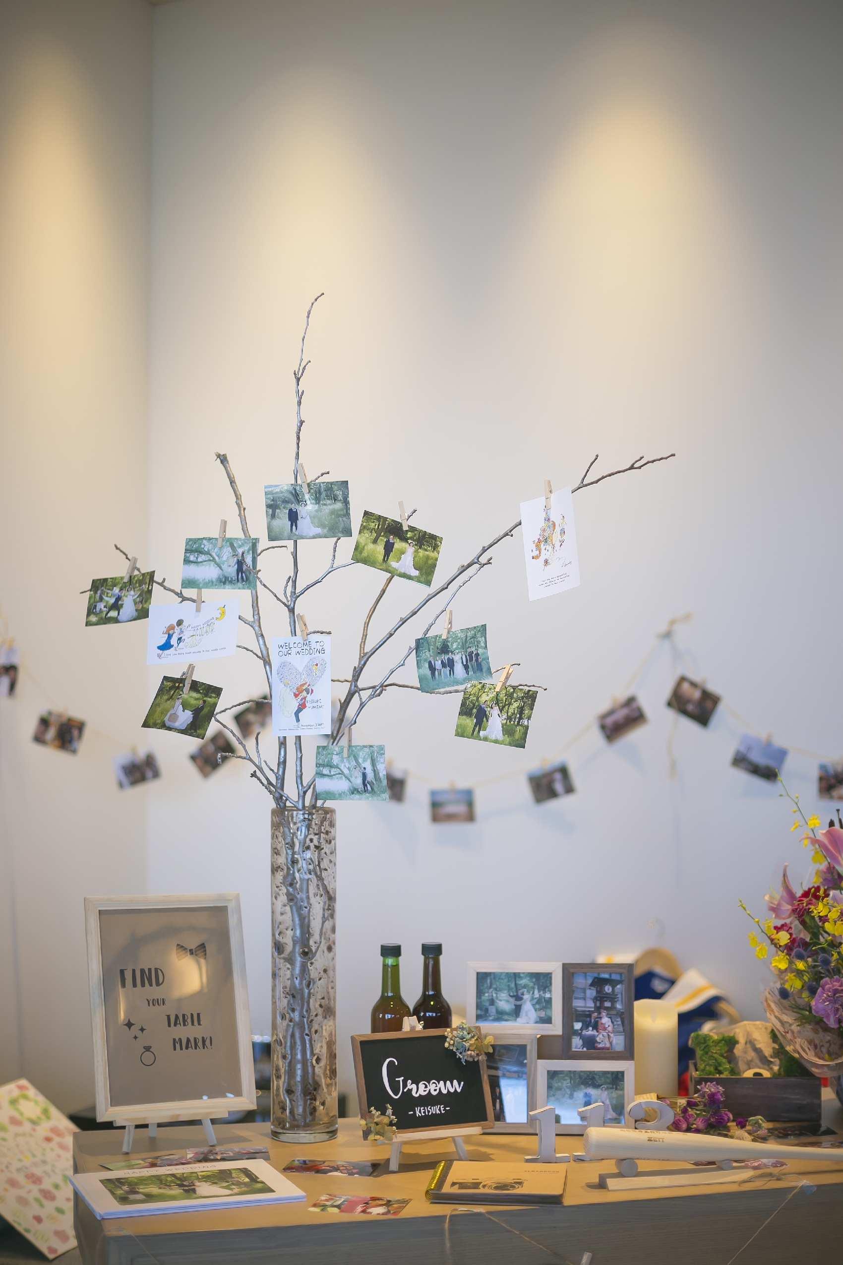 香川県高松市の結婚式場アナザースタイルの受付装飾のツリー
