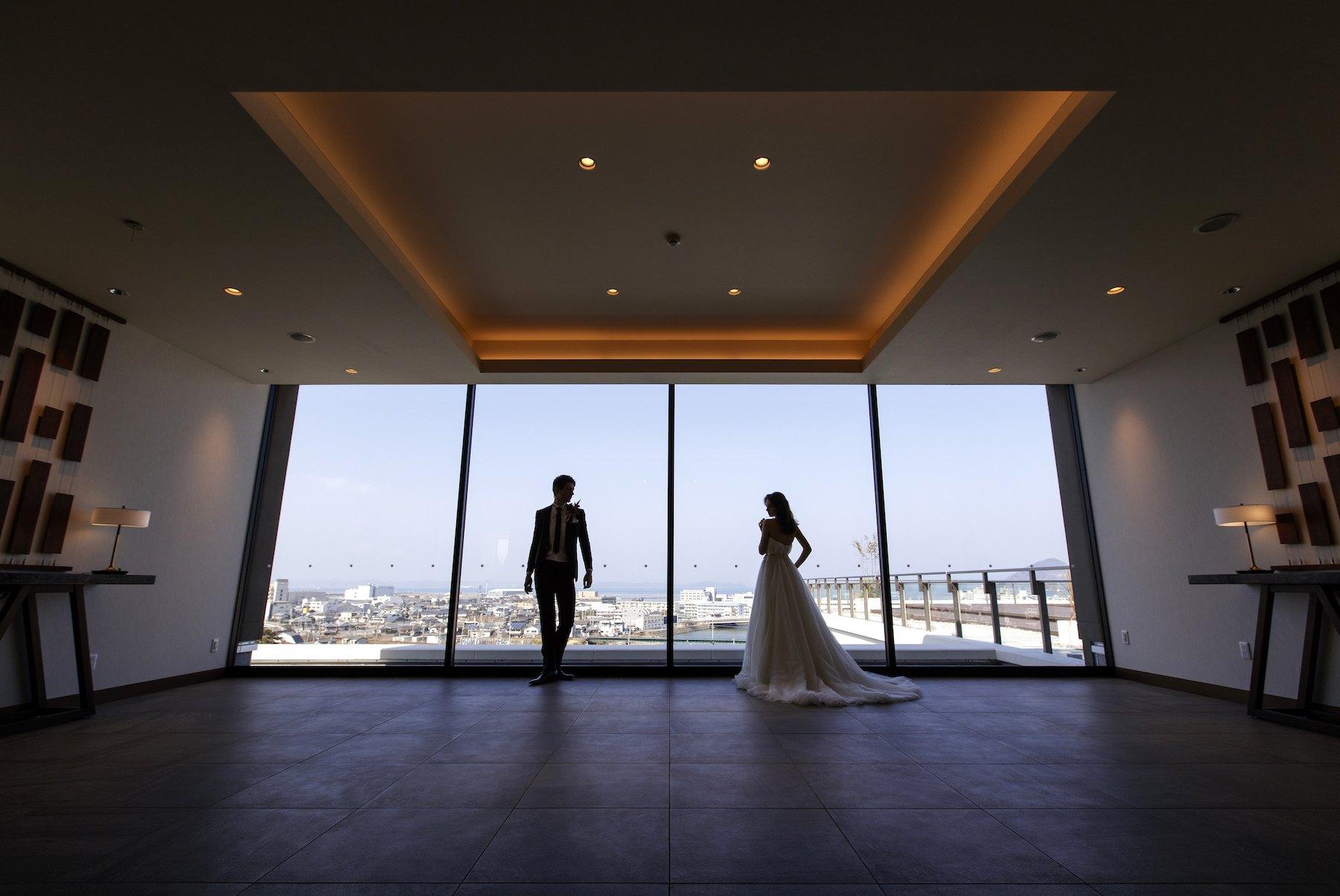 香川県高松市の結婚式場アナザースタイルのウエルカムスペース前