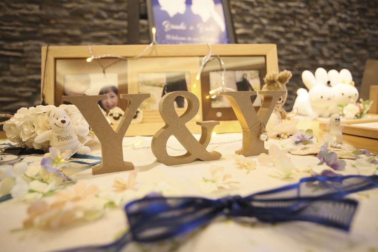 香川県高松市の結婚式場アナザースタイルの受付の飾り