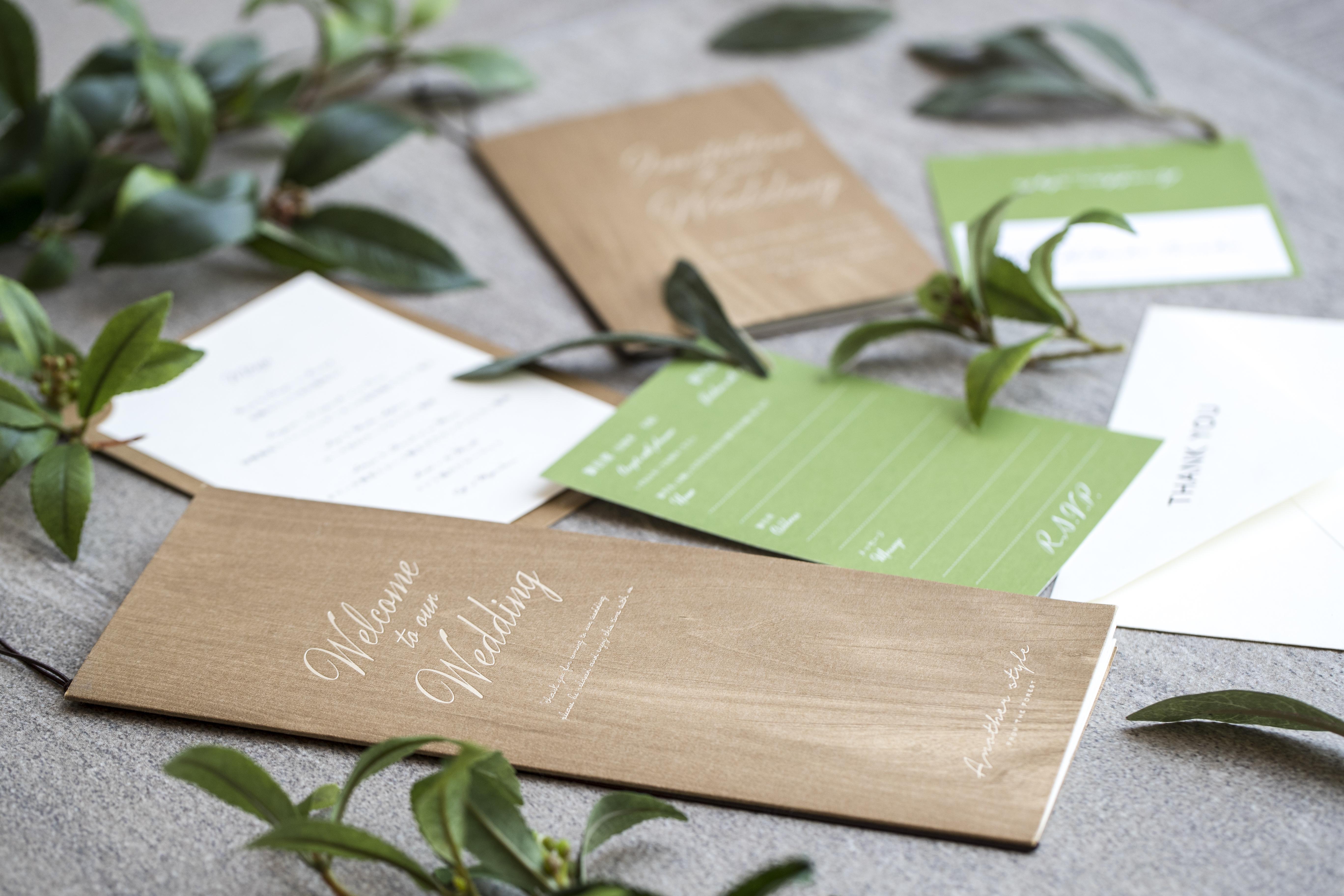 高松市の結婚式場アナザースタイルのオリジナルの招待状、席次表、メニュー表