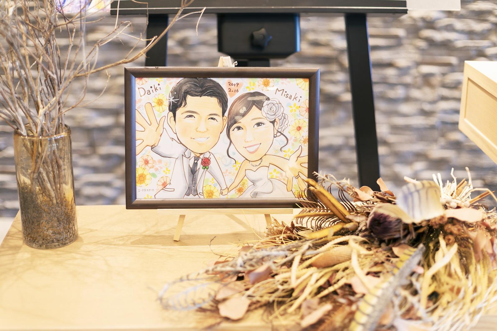 香川県高松市の結婚式場アナザースタイルの受付に飾られた似顔絵